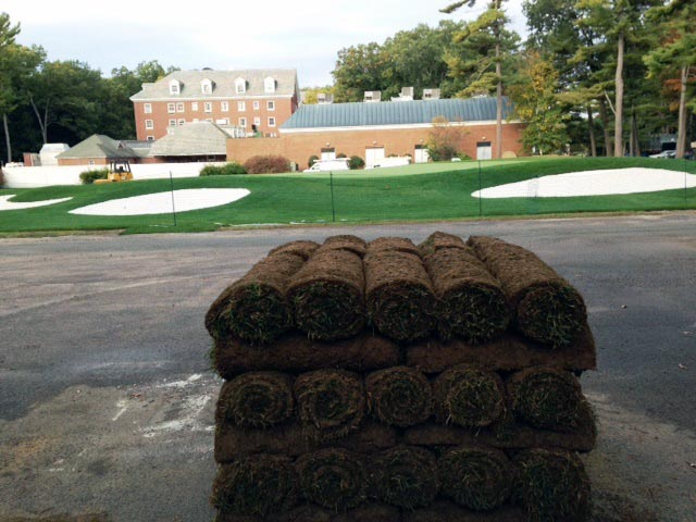 Golf Courses - pallet of sod in front of building